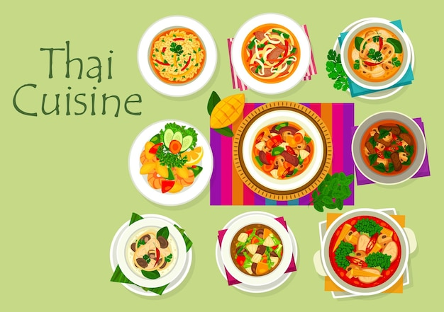Thai cuisine food with asian dishes of curry and rice with vegetables