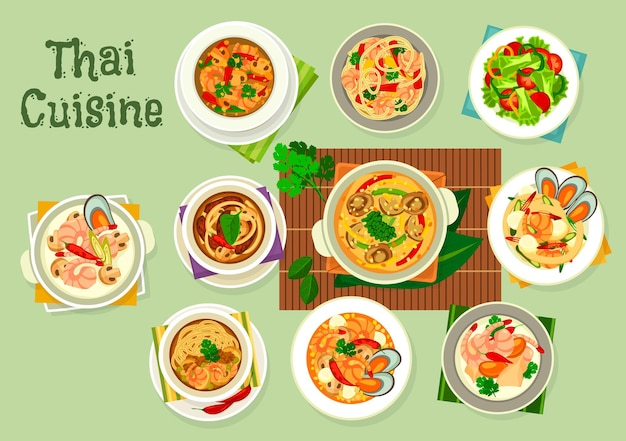 Морепродукты тайской кухни с овощами, мясом, лапшой