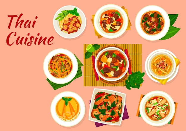 Thai cuisine vector dishes with asian food