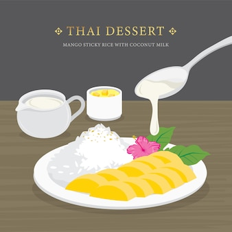 Thai dessert, mango and sticky rice with coconut milk and mango sauce.