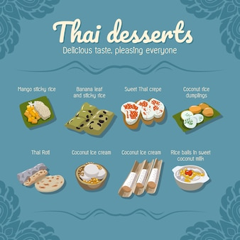 Thai desserts food vector set collection