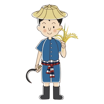 Thai farmer with rice plant