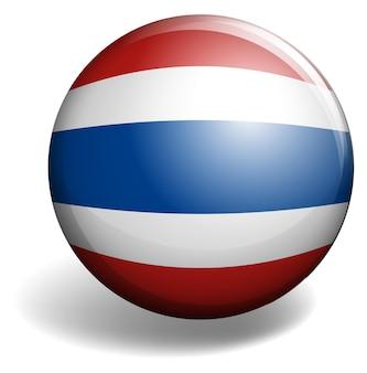 Bandiera thailandese su badge rotondo