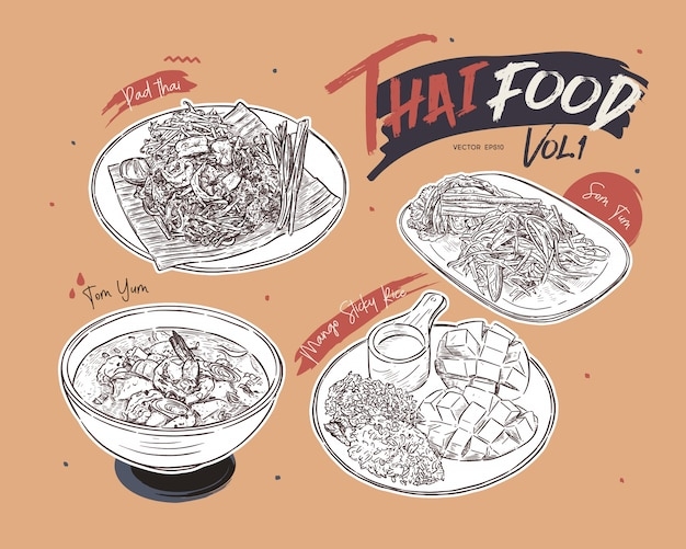 Thai food collection, hand draw sketch .