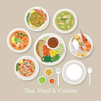 Thai food and cuisine set, traditional, favorite menu, with rice