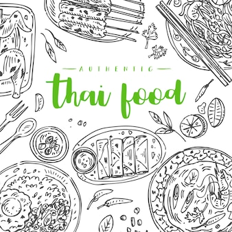 タイ料理のチラシデザイン。線形グラフィック。