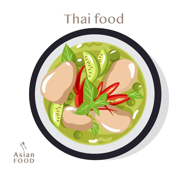 Thai food green curry with chicken,  flat illustration