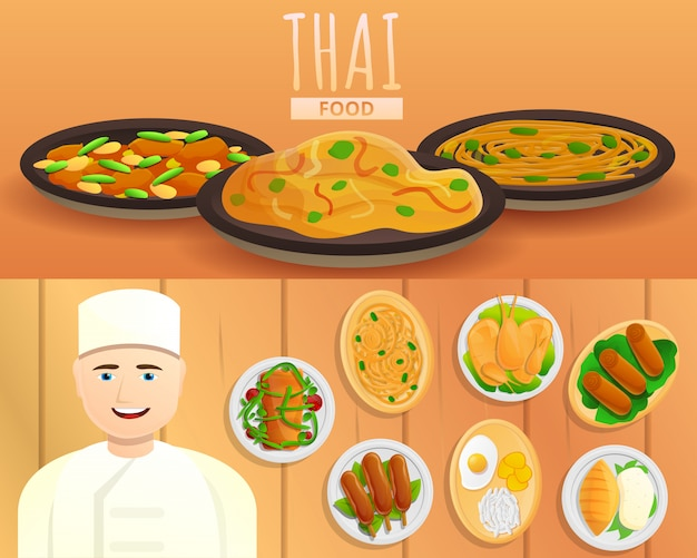 Thai food illustration set on cartoon style