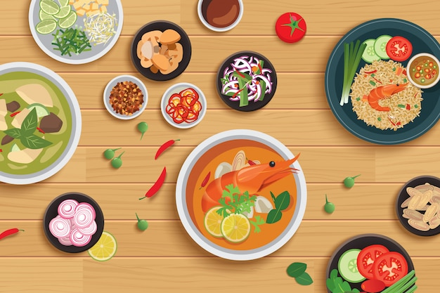 Thai food and ingredient on a wooden table