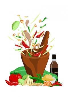 Thai food papaya salad vector design