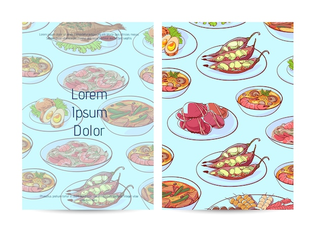 Thai food restaurant menu cover with asian dishes