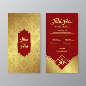 Thai food and thai restaurant luxury gift voucher design template