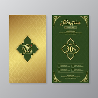 Thai food and thai restaurant luxury gift voucher design