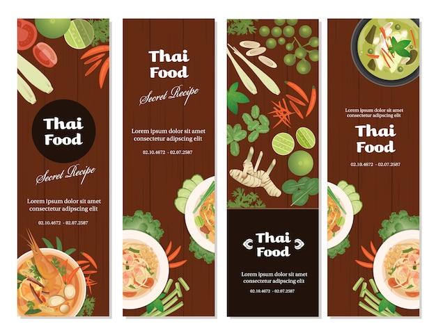 Thai foods banner set vertical