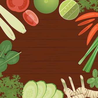 Тайские ингредиенты продуктов на деревянном фоне