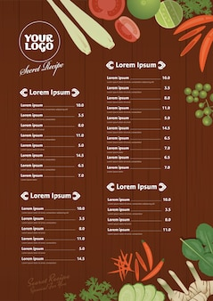 Thai foods restaurant menu template