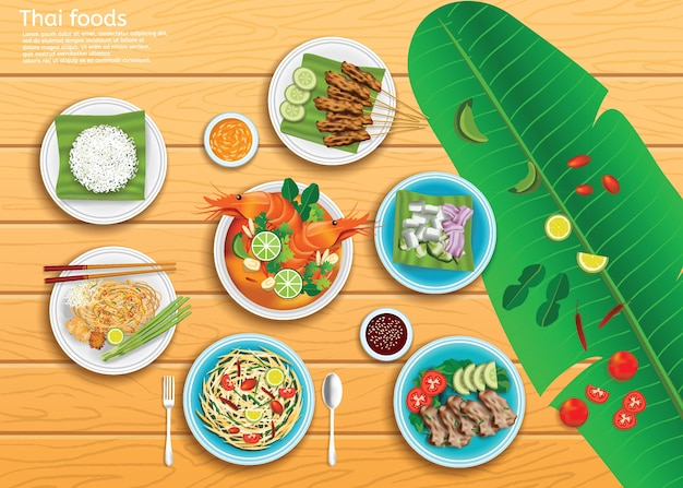 Thai foods set on a wooden background.