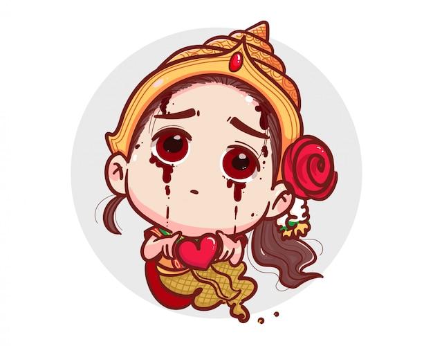 Тайский призрак в традиционном платье держит красное сердце и счастливый день святого валентина на белом фоне с пугающей концепцией хэллоуина.