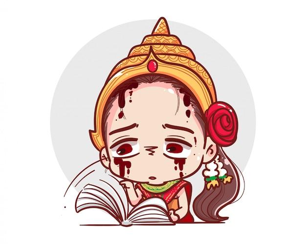 Тайский призрак в традиционной одежде читает книгу и учится на белом фоне с страшной концепцией хэллоуина.