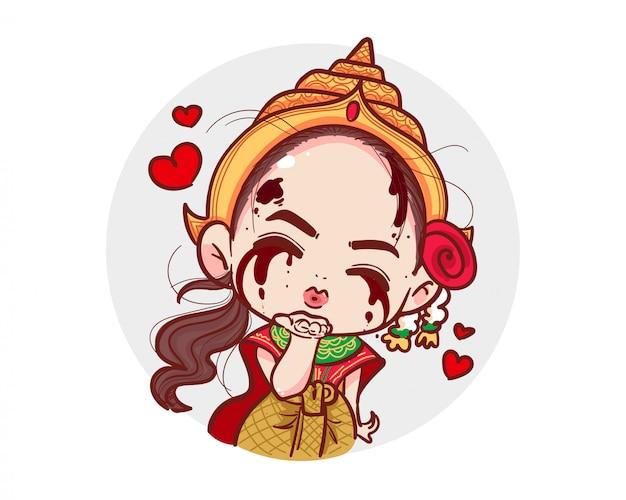 Тайский призрак в традиционной одежде посылает воздушный поцелуй и любовь или красное сердце на белом