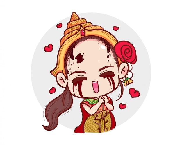 Тайский призрак в традиционном платье демонстрирует любовный жест и красные сердца на белом со страшной концепцией хэллоуина.
