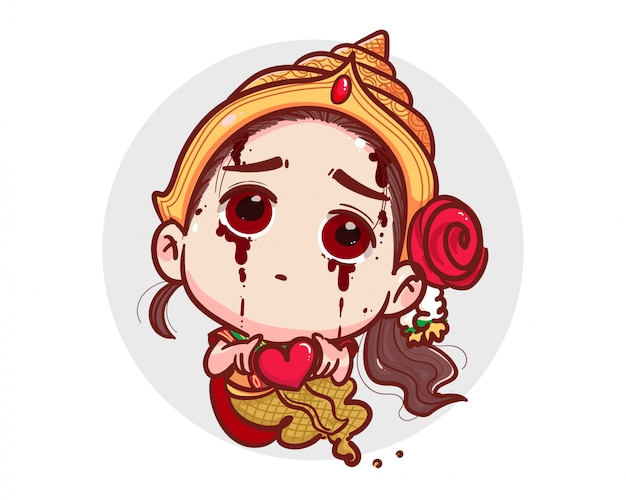 Thai ghost in traditional dress holding red heart and happy valentine day  on white background with scary halloween concept.