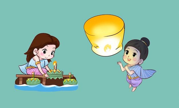 Thai girl and festival thai cartoon