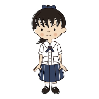 Thai girl in student uniform illustration.