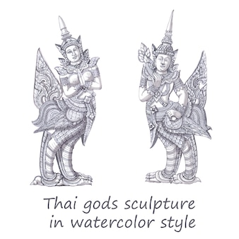 Thai gods sculpture in watercolor style.