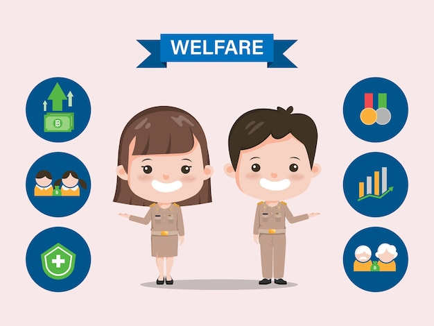 タイ政府の福祉給付。インフォグラフィックサイアムバンコクタイ教師のキャラクター。