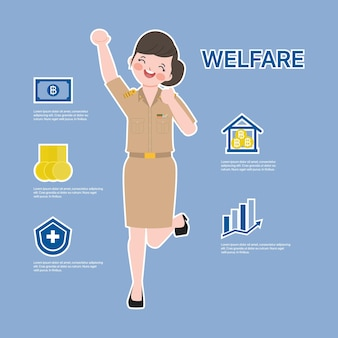 Thai government welfare benefits. infographic siam bangkok thai teacher character.