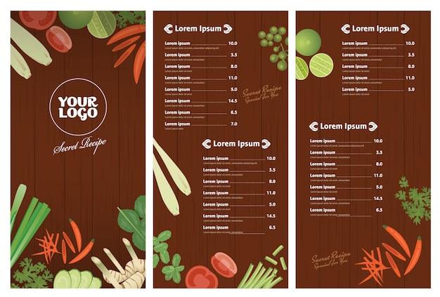 ,thai ingredients restaurant menu template on wooden background
