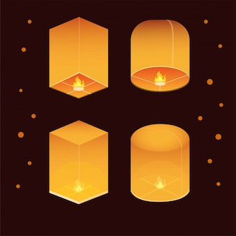 Thai lantern festival icon set with night background in realistic illustration editable