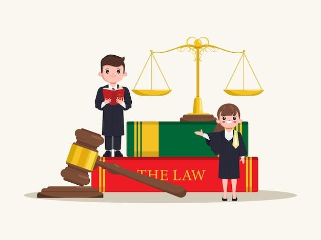 タイの弁護士法曹のキャラクターと法律の本フラット漫画法廷弁護士ベクトルデザイン