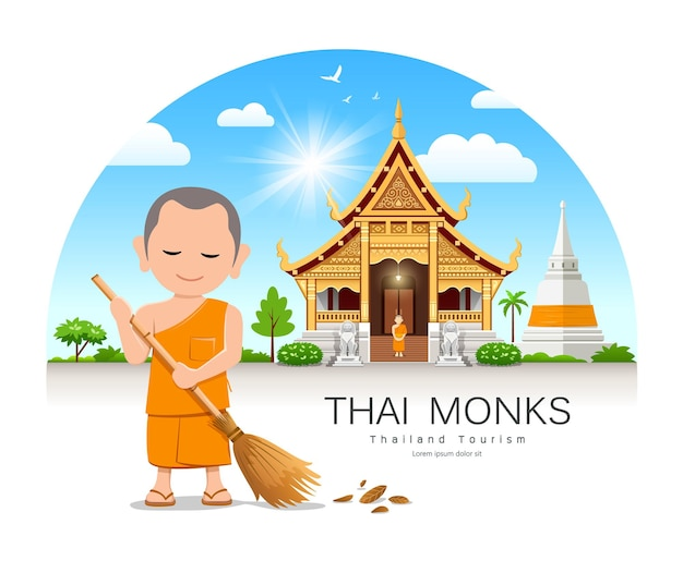 Thai monk is leaf sweep design thailand temple and pagoda