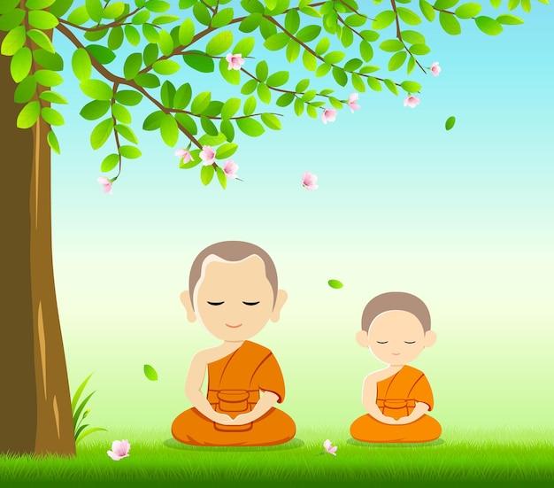 Тайские монахи и тайские новички, медитация буддизма сидят на траве с под деревом и цветочным фоном, иллюстрация