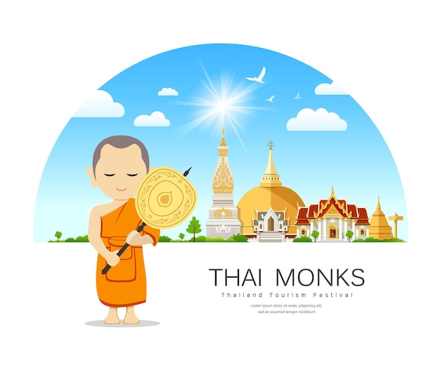 Thai monks talipot fan in hand on thailand place