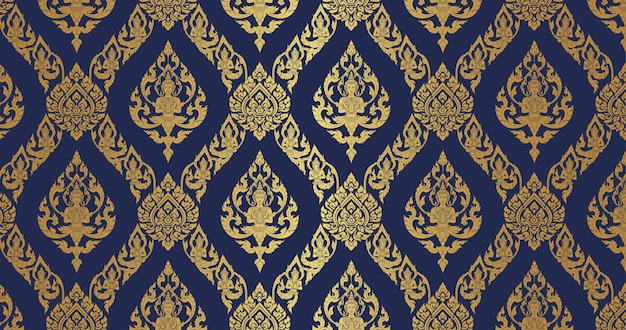 Thai pattern dark blue and gold background