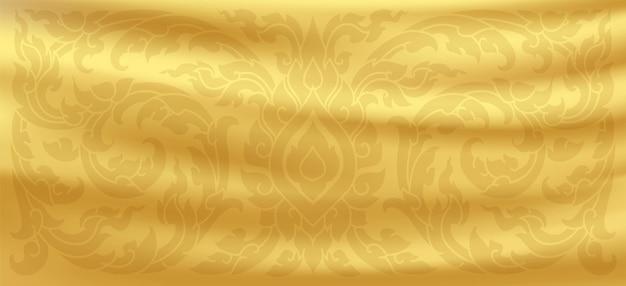 Тайский узор. золотой шелковый фон. золотые атласные волны. вектор