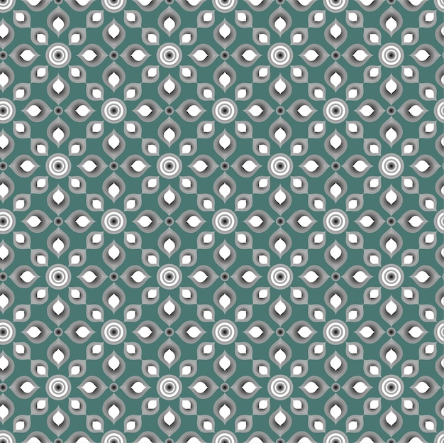 Thai pattern seamless vector, green floral background
