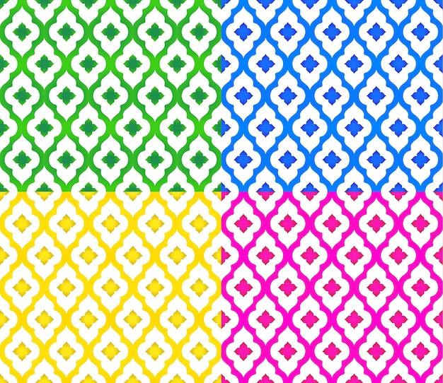 Thai pattern set of colorful modern shape background