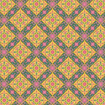 Тайский узор верховного фона премиум. полно цветов. используется для украшения стен церквей и храмов в традиционных тайских традициях.