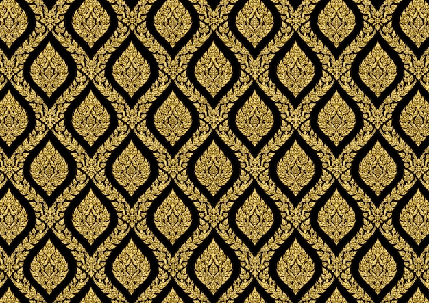 Thai pattern vintage gold vector illustrator