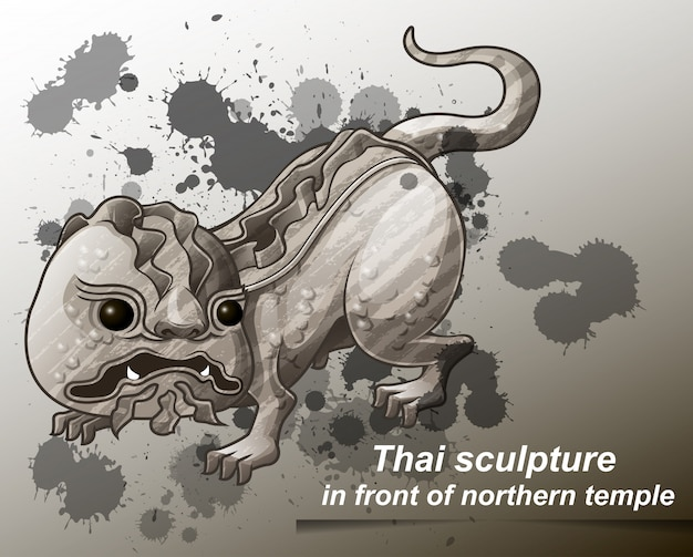 Thai sculpture in front of northern temple in cartoon style.