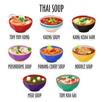 Thai soup set, different dishes in colorful bowls isolated