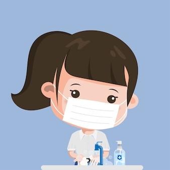 タイの学生はいつも手を洗っています。サイアムバンコクスクールタイセーフ