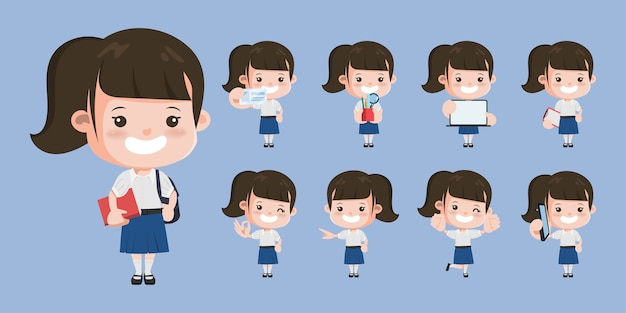 Thai student standing character pose. bangkok thailand high school animation  design.