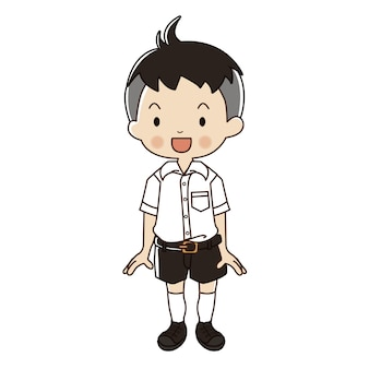 Thai student uniform illustration.