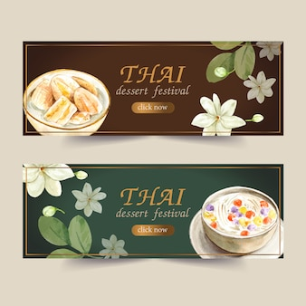 Thai sweet banner design with bua loi, banana in coconut milk watercolor illustration.