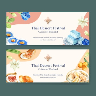 Thai sweet banner design with layered jelly, pudding, banana watercolor illustration.